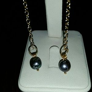 14k Yellow Gold  (Filled) & Real Pearls Earrings